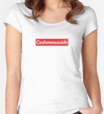 CASH ME OUSSIDE BOX LOGO Women's Fitted Scoop T-Shirt