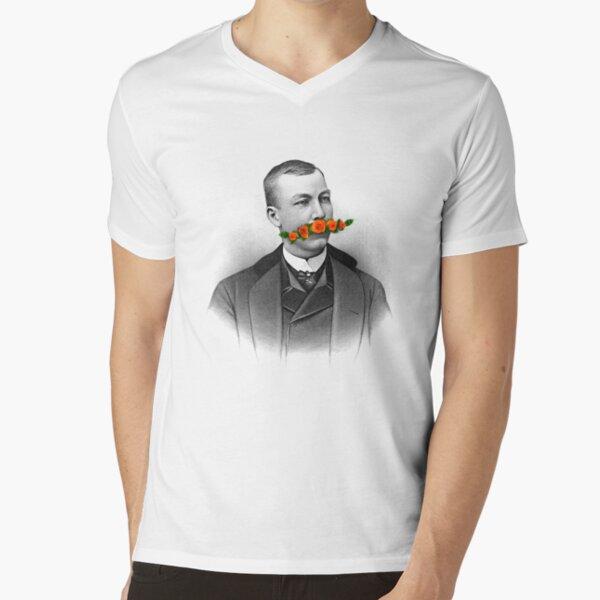 Vintage gentleman & Mustache with flowers V-Neck T-Shirt