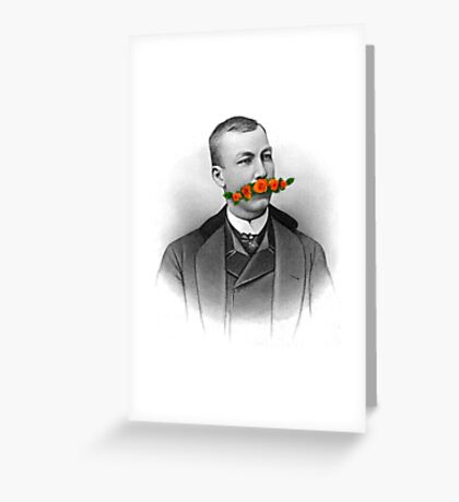 Vintage gentleman & Mustache with flowers Greeting Card