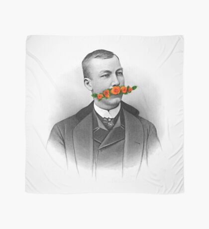 Vintage gentleman & Mustache with flowers Scarf