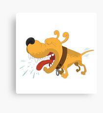 Barking funny cartoon dog Canvas Print