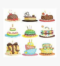 Birthday Cake with Candle in White Photographic Print