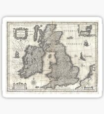Antique Map - Blaeu's British Isles (1631) Sticker