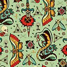 Green Snake Pattern by Amanda Irene