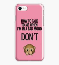 Don't Talk Emoji Monkey iPhone Case/Skin
