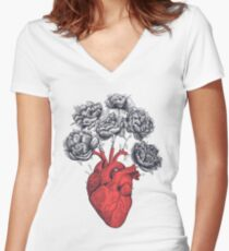 Heart with peonies Women's Fitted V-Neck T-Shirt