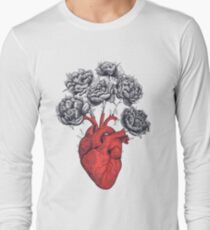 Heart with peonies Long Sleeve T-Shirt