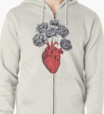 Heart with peonies Zipped Hoodie
