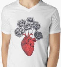 Heart with peonies Men's V-Neck T-Shirt