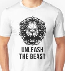 Unleash The Beast - Lion - Gym Quote T-Shirt