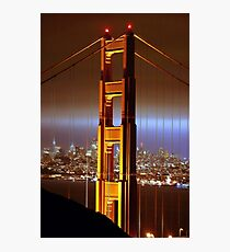 Sparkly Bridge Twinkles in the Night Photographic Print