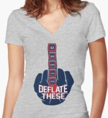 Deflate These - 5 Rings Middle Finger Fist Women's Fitted V-Neck T-Shirt
