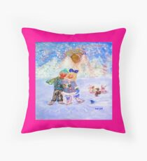 Skaters in Love Decor & Gift by Marie-Jose Pappas Pink Throw Pillow