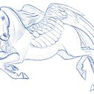 Flying Pegasus Sketch by Char Reed