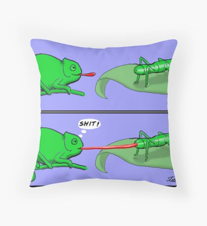 Chameleon Cartoon Throw Pillow