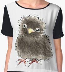 Baby Raven / Black Bird in Watercolor Chiffon Top