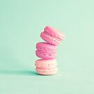 Three pink macaroons by Caroline Mint