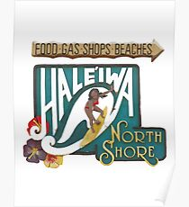 Hale'iwa North Shore Sign - WOMAN Poster