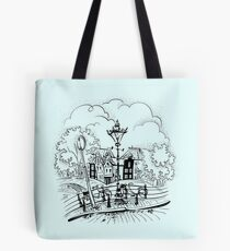 Amsterdam typical houses, bridges and streetlight Tote Bag