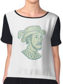 Juan Ponce de Leon Explorer Drawing Chiffon Top