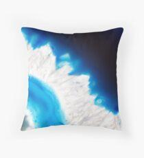 Blue agate mineral super macro Throw Pillow