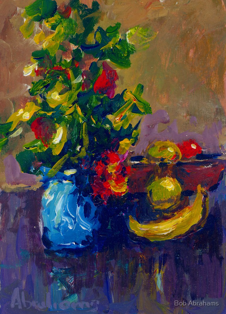 BLUE VASE AND FRUIT by Bob Abrahams