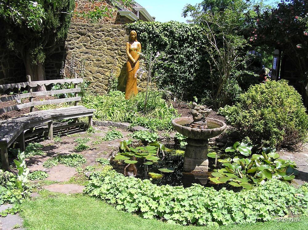 Sculpture and pond in Cruden Farm, Victoria, Australia by brendak