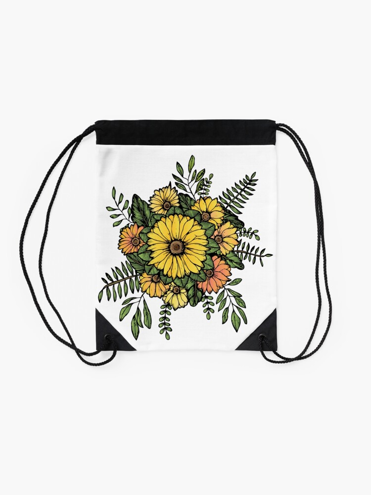 Alternate view of SUNFLOWERS Drawstring Bag