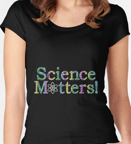 Science Matters! - White Outline Women's Fitted Scoop T-Shirt