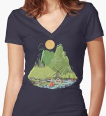Glitchscape Women's Fitted V-Neck T-Shirt