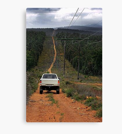 Driving The Powerlines Track Canvas Print