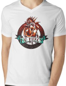 NO MERCY - Vintage Rooster - Red Mens V-Neck T-Shirt