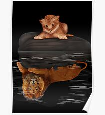 Cute little simba and the big old lion king reflection Poster