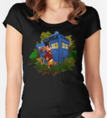 Doctor Tiger with Blue Phone Box Women's Fitted Scoop T-Shirt