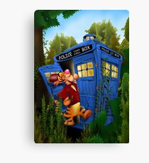 Doctor Tiger with Blue Phone Box Canvas Print