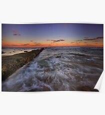 Bar Beach Breakwall at Dusk Poster