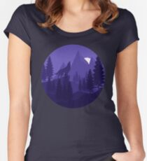 Wolf Mountain Landscape Women's Fitted Scoop T-Shirt