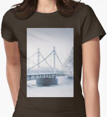 Bridge over frozen river and trees in hoarfrost. Fine art T-Shirt