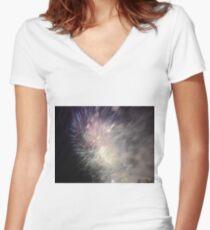 Fireworks - Starburst Women's Fitted V-Neck T-Shirt