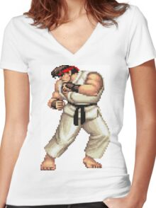 Street Fighter 2 Ryu Women's Fitted V-Neck T-Shirt