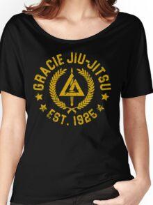 Gracie Brazilian  Jiu Jitsu martial arts EST 1925 scratch Yellow Women's Relaxed Fit T-Shirt