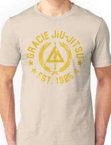 Gracie Brazilian  Jiu Jitsu martial arts EST 1925 scratch Yellow Unisex T-Shirt