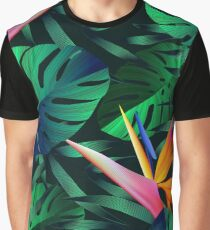 Tropical flowers, jungle leaves, bird of paradise flower. Graphic T-Shirt
