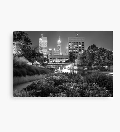 Downtown Indianapolis Skyline at Night - Black and White Canvas Print