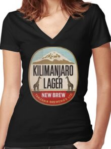 KILIMANJARO LAGER VINTAGE LOGO Women's Fitted V-Neck T-Shirt