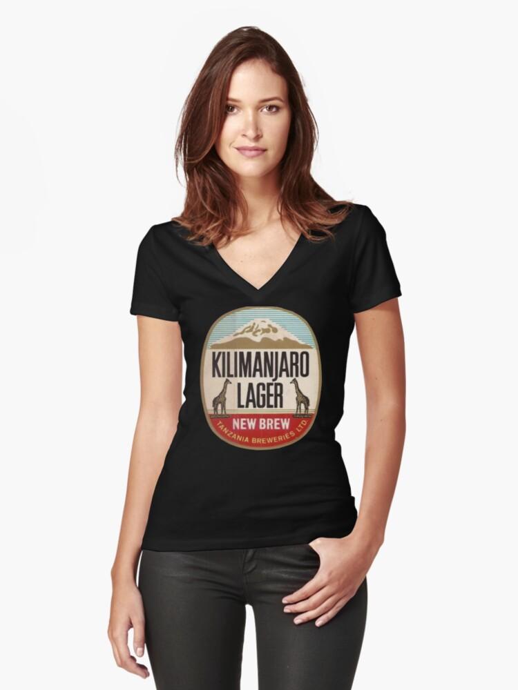 KILIMANJARO LAGER VINTAGE LOGO Women's Fitted V-Neck T-Shirt Front