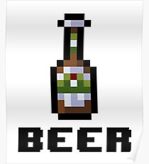 Beer Bottle Pixel Art Poster