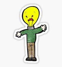 cartoon man with idea light head Sticker