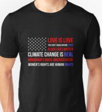 Liebe ist Liebe Schwarz lebt Anti-Trumpf Slim Fit T-Shirt