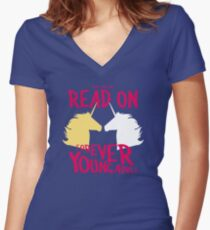 Keep Calm and Read On, FYA Women's Fitted V-Neck T-Shirt